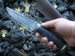 Нож Коготь (Торцевой дамаск, стаб. карельская береза, мельхиор)