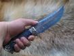Нож Авторский 4 (Мозаичный дамаск с никелем, полимерный композит, мельхиор)