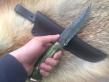 Нож Вепрь 1 (Дамаск с никелем, стаб. карельская береза, бронза, инкрустация)