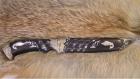 Нож Фауна (Булат, деревянные ножны, мельхиоровое литьё, инкрустация серебром)
