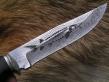 Нож Осетр ( Торцевой Дамаск с никелем, граб, мельхиор, гравировка)