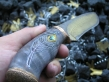 Нож Перо (Дамаск, стаб. карельская береза, бронза, инкрустация)