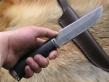 Нож Клык 1 (булат, стаб. краельская береза, мельхиор)