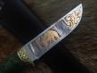 Нож Лось 1 (Elmax, стаб. карельская береза, латунное литье)