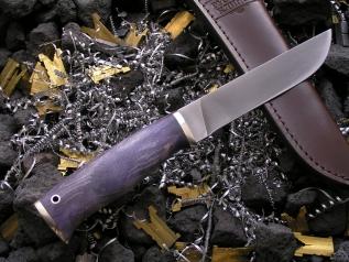 Нож ОН-12 (Vanadis10, стаб карельская береза, мельхиор)