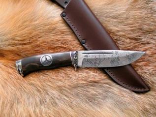 Нож Мерседес (vanadis10, стаб. карельская береза, мельхиор, вставка в рукояти)
