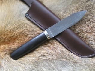 Нож Степной 1 (дамаск, граб, мельхиор, вставка)
