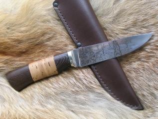 Нож Медведь (110х18, венге, береста, гравировка)