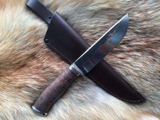 Нож Вепрь (9хс, стабилизированная карельская береза, мельхиор)
