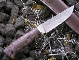 Нож эксклюзивный 11 (дамаск, кап клена, мельхиор)
