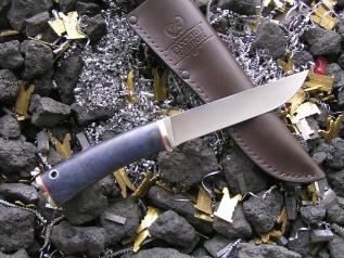 Нож РН-10 (М390, стаб. карельская береза, мельхиор)