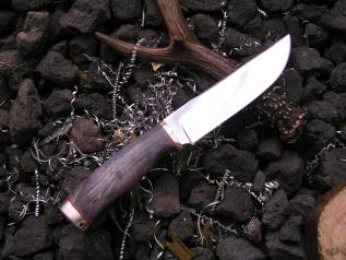 Нож Клык-3 (х12мф, стаб. карельская береза, мельхиор)