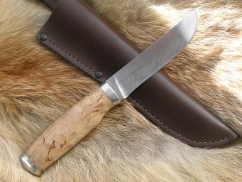 Нож Клык 2 (Дамаск, карельская береза, мельхиор)