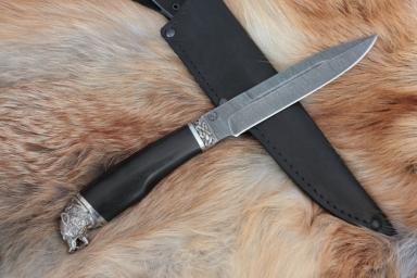 Нож - Волк (дамасская сталь, граб)