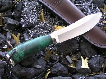 Нож РН-3 (Elmax, стаб. карельская береза, мельхиор)