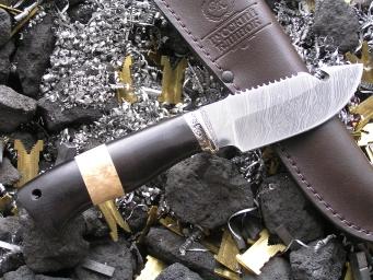 Нож Шкурник 2 (Дамаск, наборная рукоять, мельхиор)
