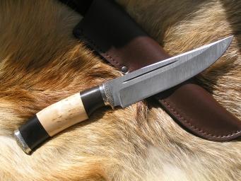 Нож Коготь 3 (Дамаск, наборная рукоять, мельхиор)