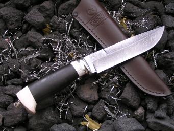 Нож Атака (Дамаск, граб, рог, мельхиор)