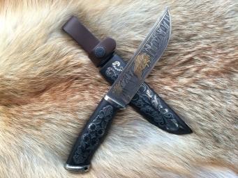Нож Медведь (М390, граб, деревянные ножны, инкрустация)