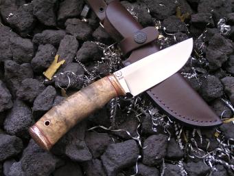 Нож Шкурник (М390, карельская береза, бронза)