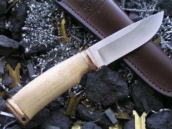 Нож Шкурник-1 (М390, карельская береза, бронза)