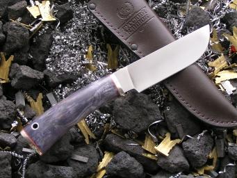 Нож НК-7 (Elmax, стаб. карельская береза, мельхиор)