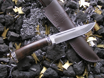 Нож - Игла (дамаск, венге, мельхиор)