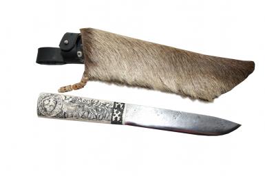 Нож - Олени (клык моржа, скримшоу)