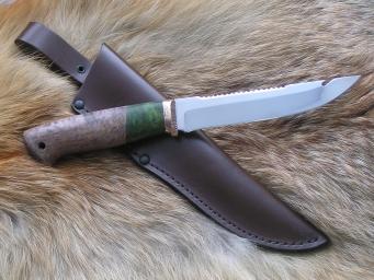 Нож Рыбак (ХВ5, стаб. карельская береза, мельхиор)