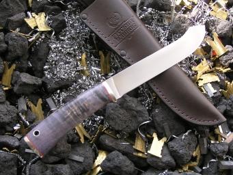 Нож НК-5 (Elmax, стаб. карельская береза, мельхиор)