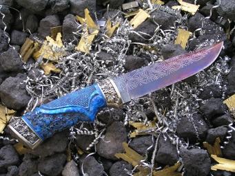 Нож Авторский 3 (Мозаичный дамаск, полимерный композит, мельхиор)